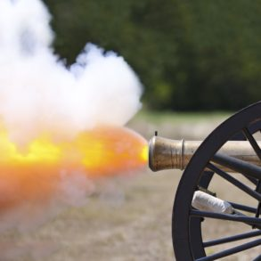 Civil war cannon firing at the Old Fort Jackson historic site