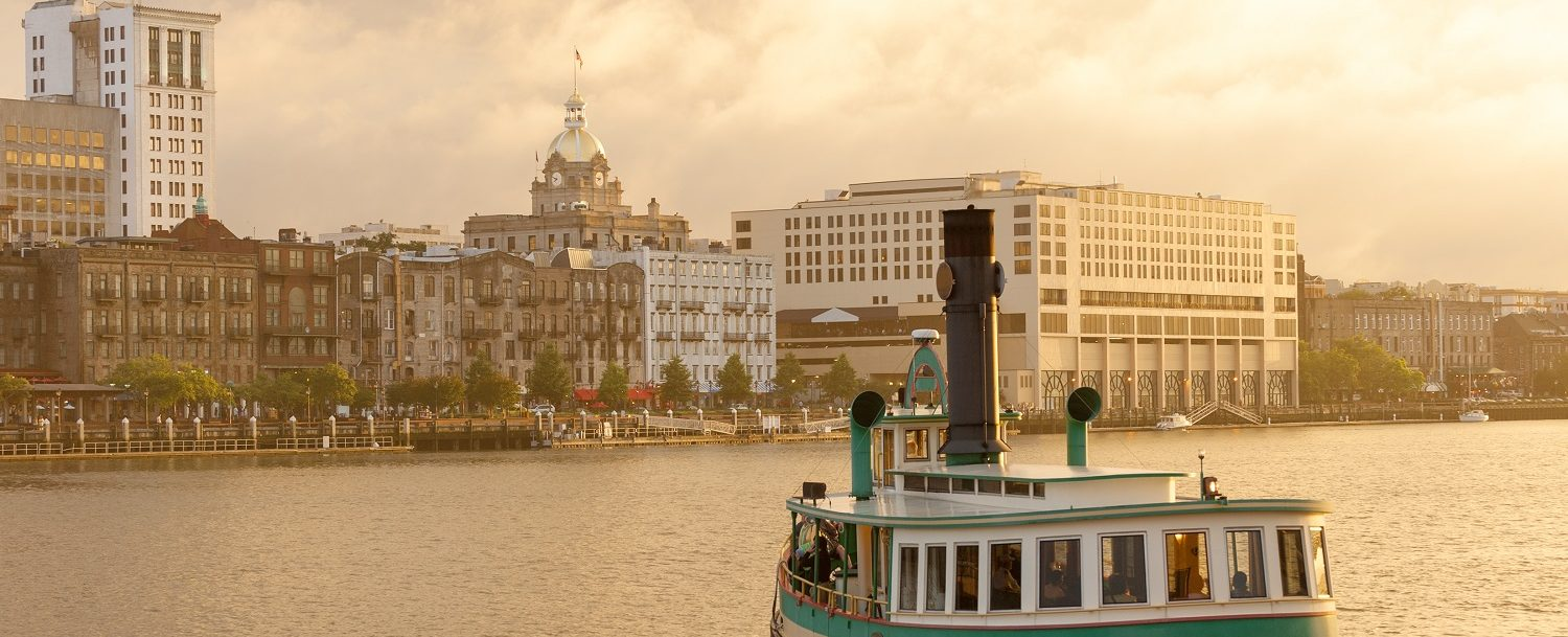 View of the Savannah water ferry, one of the best free things to do in Savannah, GA