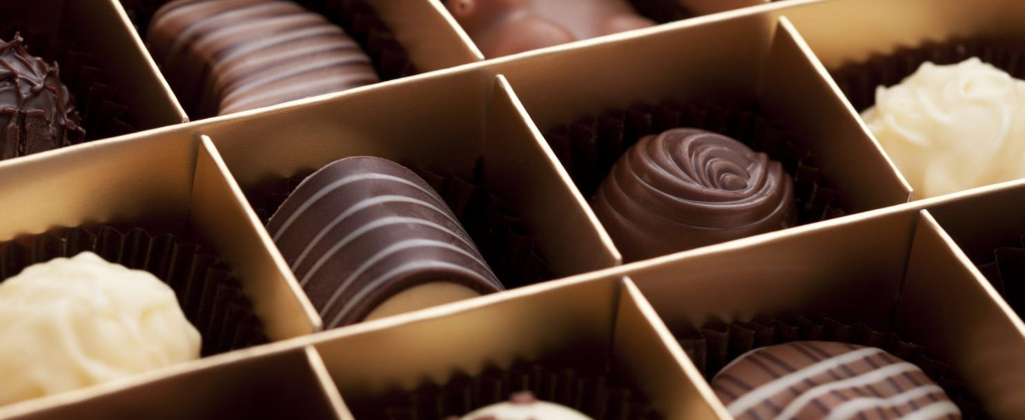 Close up of a box of chocolates for Forrest Gump Bench Location