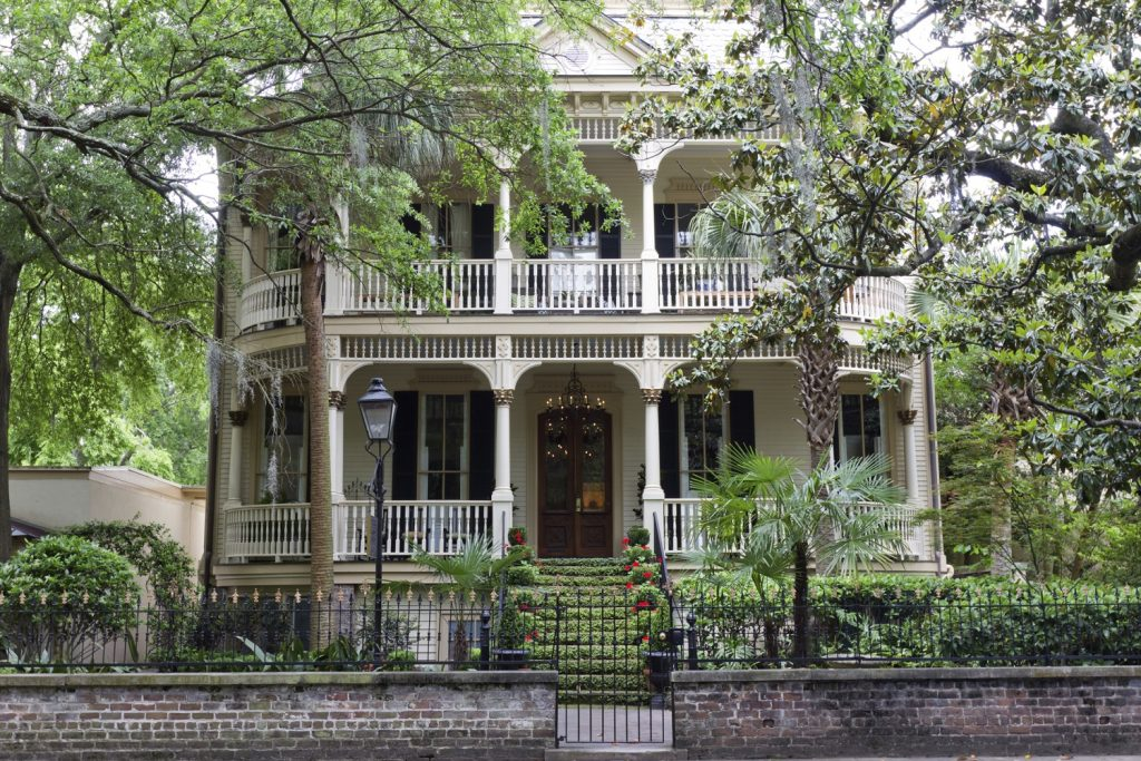 Front of a home in the Savannah GA historic district