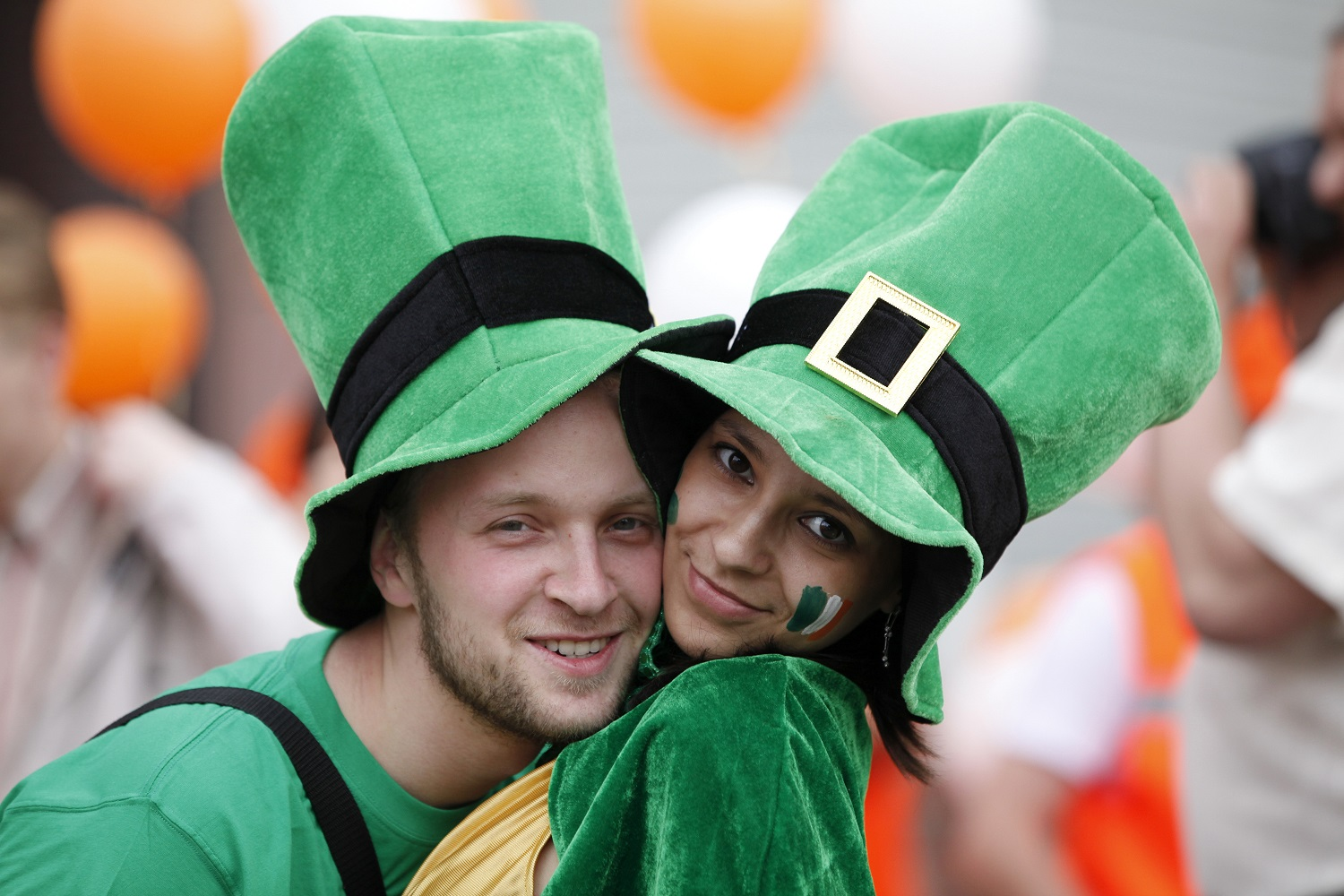 Couple wearing costumes at the Savannah St. Patrick's Day parade