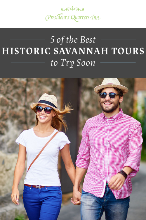 Couple holding hands on one of the historic Savannah tours