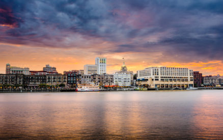 the savannah riverfront is beautiful, seeing it at dusk is one of the best things to do in savannah ga