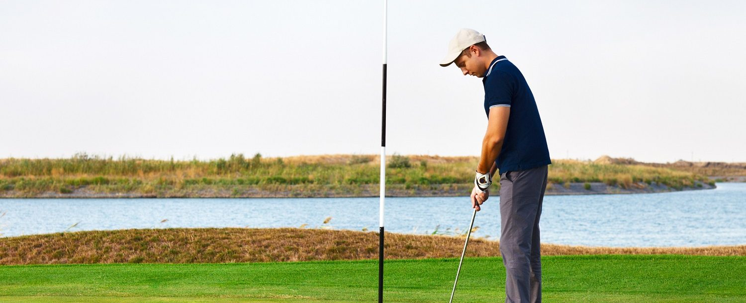 Golfer lining up his shot during the Heritage Golf Tournament